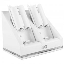 Cargador Doble Mandos Wii + 2 Baterías Recargables Qoopro Blanco