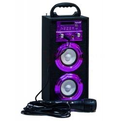 Altavoz con Karaoke HIFI-16 Purpurina DIGIVOLT, Reproductor MP3 desde USB/SD + Radio FM