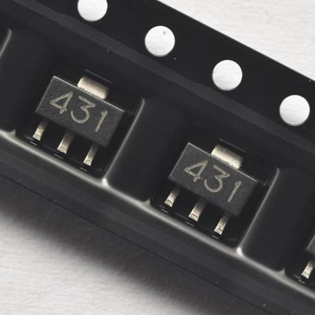 TL431 SOT-89 SMD Zener ajustable desde 2,5Volts a 36Volts