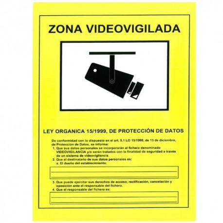 Cartel zona videovigilada pl stico para interior exterior - Cartel de videovigilancia ...