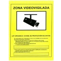 Cartel de Zona Videovigilada plástico para interior/exterior.Homologada según normativa vigente