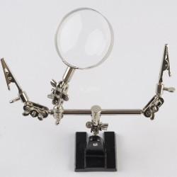 Soporte con Pinzas, Brazos Articulados y Lupa para Electrónica de Precisión