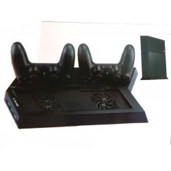 Soporte Base Ventilador Refrigeración para Consola PS4 con Cargador para 2 Mando