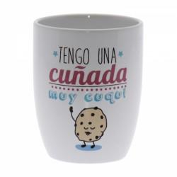 Original Taza de Cerámica decorada con frases - Tengo una cuñada muy Cuqui