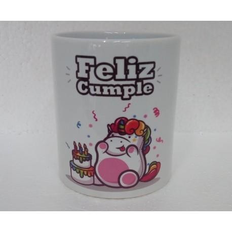 Original Taza de Cerámica decorada con frase -Feliz cumple