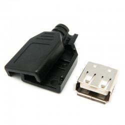 Conector Aereo USB A Hembra con funda