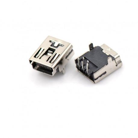 Conector Mini USB 5 pines (Mini B5) Conector angulo recto 2 patas