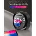 Altavoz Bluetooth Espejo con Reloj, Radio FM y Soporte para móvil